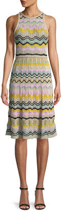 M Missoni Wave Crochet Fit & Flare Dress