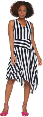 Vince Camuto Striped Dress with V Neck and Asymmetrical Hem