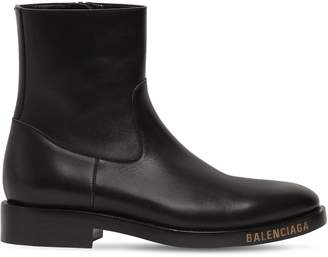 Balenciaga Logo Detail Leather Ankle Boots