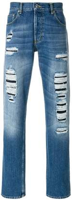 Alexander McQueen straight-leg distressed jeans