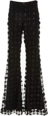 Christian Siriano Floral Sequin Flared Trouser