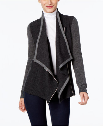 INC International Concepts Draped Faux-Leather-Trim Cardigan, Only at Macy's $109.50 thestylecure.com