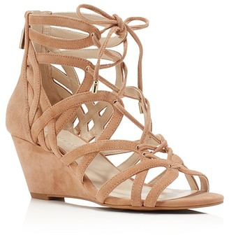 Kenneth Cole Dylan Caged Lace Up Wedge Sandals $130 thestylecure.com