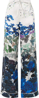 MENG - Printed Silk-satin Pajama Pants - Blue