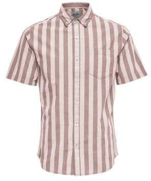 ONLY & SONS Striped Cotton Poplin Button-Down Shirt