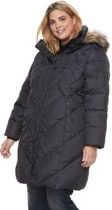 London Fog Tower By Plus Size TOWER by Quilted Faux-Fur Trim Coat