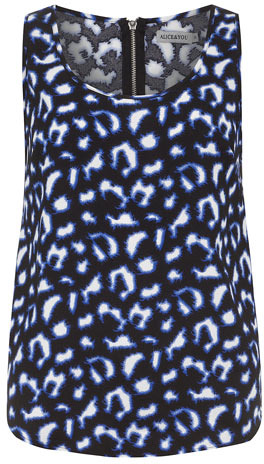 Dorothy Perkins Blue leopard zip back vest