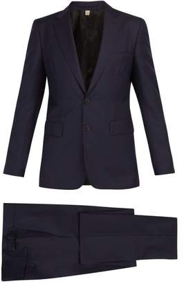 Burberry Soho Single Breasted Wool Blend Suit - Mens - Navy