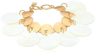 Robert Lee Morris Womens Moonrise Gold Disc and Mother of Pearl Link Charm Bracelet