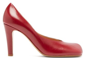 Bottega Veneta Square Toe Leather Pumps - Womens - Burgundy