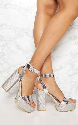 PrettyLittleThing Silver Double Platform Espadrille Sandal