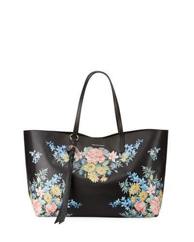 Alexander McQueenAlexander McQueen Skull Open Small Floral Shopper Tote Bag, Multi