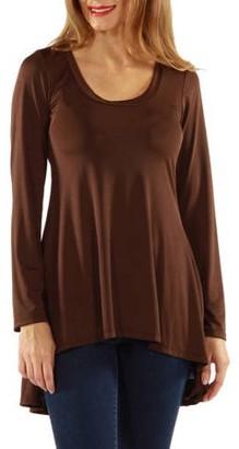 24/7 Comfort Apparel Women's Long Sleeve High-Low Tunic Top