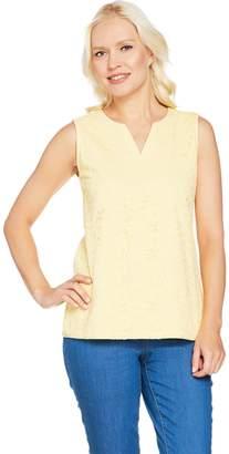 Denim & Co. Sleeveless Split V-Neck Knit Lace Tank Top