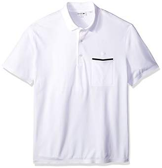 Lacoste Men's Short Sleeve Casual Elegance Pique with Pocket Slim Polo