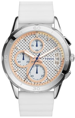Women's Fossil 'Modern Pursuit' Chronograph Silicone Strap Watch, 39Mm $135 thestylecure.com