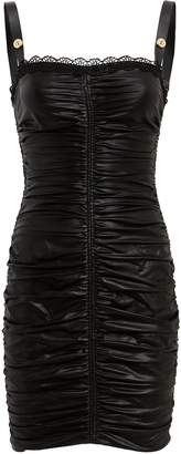 Versace Ruched Coated Mini Dress