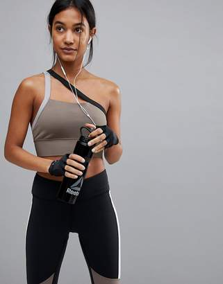 Reebok Low Support One Shoulder Bra In Taupe