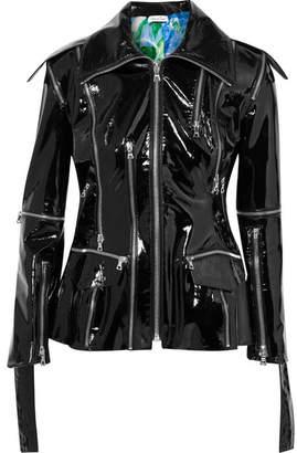Richard Quinn - Patent-leather Peplum Biker Jacket - Black