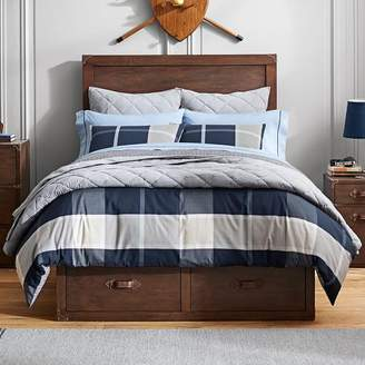 Pottery Barn Teen Preston Plaid Reversible Duvet Cover, Full/Queen, Navy