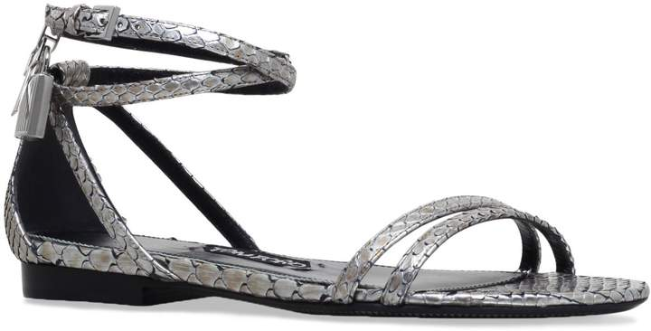 TOM FORD Padlock Snake Flats, Silver, IT 38