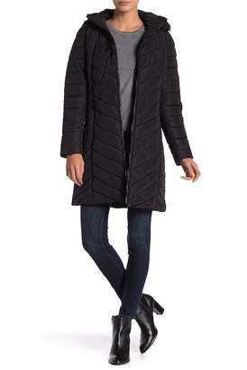 Kenneth Cole New York Faux Fur Lined Hood Quilted Jacket