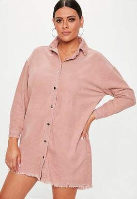 Missguided Plus Size Dusky Pink Oversized Cord Shirt Dress