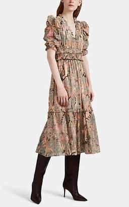 Ulla Johnson Women's Claudette Floral Chiffon Dress - Beige, Tan