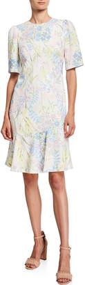 Calvin Klein Floral-Stem Flounce Sheath Dress
