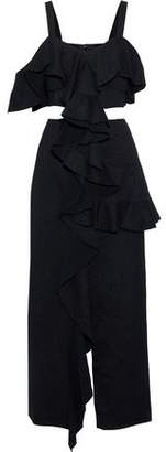 Proenza Schouler Cutout Ruffled Cotton-Blend Jacquard Maxi Dress