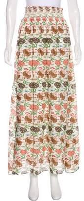 Tory Burch Silk Floral Print Maxi Skirt