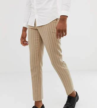 Asos Design DESIGN Tall skinny crop smart pant in stone pinstripe wool mix