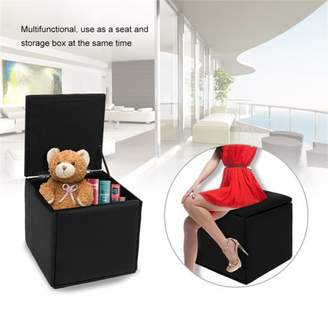Feel Faux Leather Pouffe Storage Box Lounge Seats Storage Bench Light Chairs Upholstered Folding Storage Seats Home