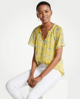 Ann Taylor Tropical Toile Pleated Split Neck Top