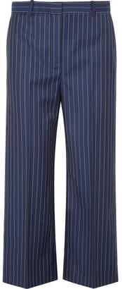 Cropped Striped Wool Wide-leg Pants - Navy
