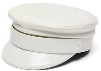 Ruslan Baginskiy Leather Trimmed Twill Baker Boy Cap - Womens - White