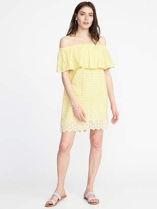 Old Navy Off-the-Shoulder Linen-Blend Shift Dress for Women