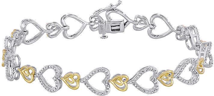 FINE JEWELRY ForeverMine 1/10 CT. T.W. Diamond Two-Tone Heart Link Bracelet