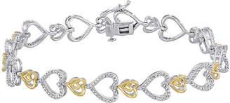 JCPenney FINE JEWELRY ForeverMine 1/10 CT. T.W. Diamond Two-Tone Heart Link Bracelet