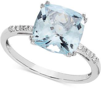 Macy's Aquamarine (2-5/8 ct. t.w.) & Diamond Accent Ring in 14k White Gold