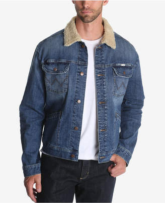 Wrangler Men Fleece Lined Denim Trucker Jacket