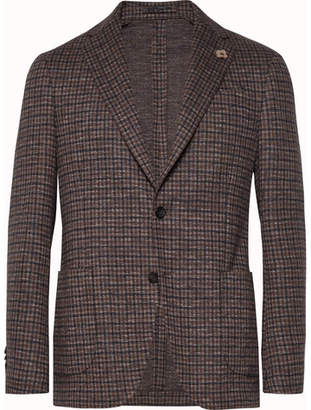 Lardini Brown Unstructured Checked Cotton And Wool-Blend Blazer