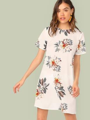 Shein Floral Print Short Sleeve Dress