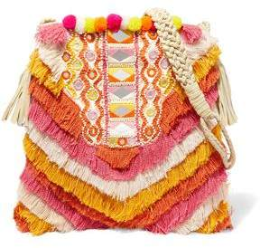 Antik Batik Frika Leather-trimmed Fringed Cotton Shoulder Bag