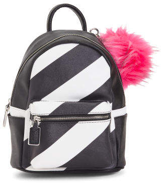 Striped Backpack With Pom