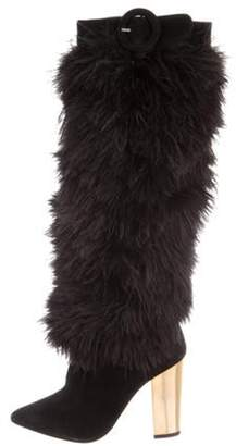 Nicholas Kirkwood Ostrich Feathers Knee High Boots Black Ostrich Feathers Knee High Boots
