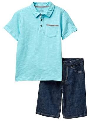 Calvin Klein Striped Polo & Denim Shorts Set (Big Boys)