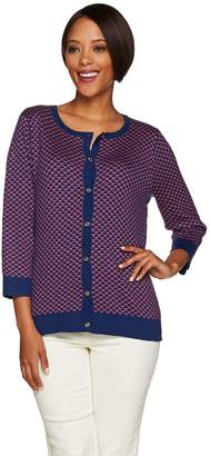 C. Wonder 3/4 Sleeve Scallop Pattern Jacquard Knit Cardigan