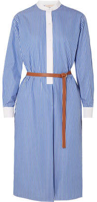 Tory Burch Spencer Belted Striped Cotton-poplin Dress - Blue