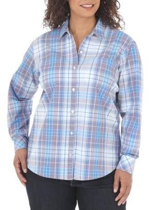 Lee Riders Women's Plus Long Sleeve Poplin Shirt